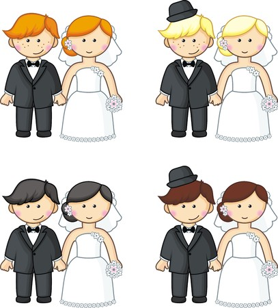 Cartoon brides and grooms  Vector illustration