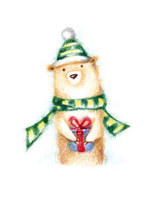 Christmas bear, colored pencils Stock Photo
