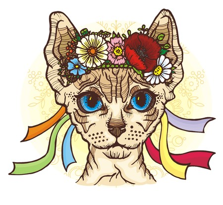 Sphynx cat in the Ukrainian national wreath Illustration