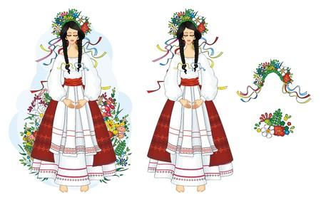 national: Ucraniano, chica en traje nacional con flores Vectores