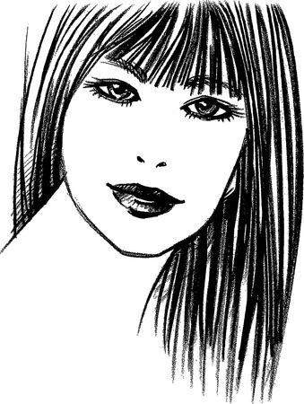 beautiful face: black and white portrait of a girl