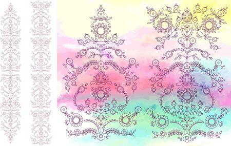 Floral watercolor vector illustration set