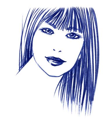 beautiful female face sketch Stock Photo