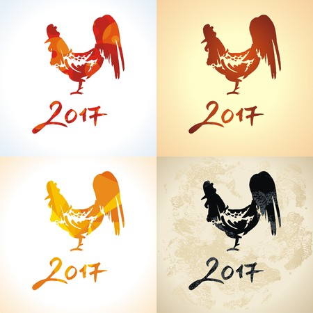 Vector illustration, hand drawing of a rooster. The symbol of the year 2017