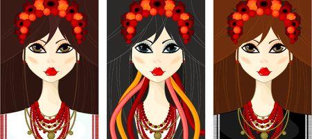 Ukrainian, girl in the national Ukrainian costume Illustration