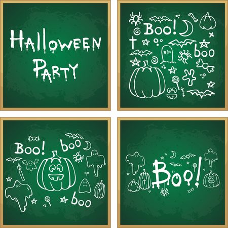Halloween hand drawn cartoon picture white chalk on a blackboard, vector illustration