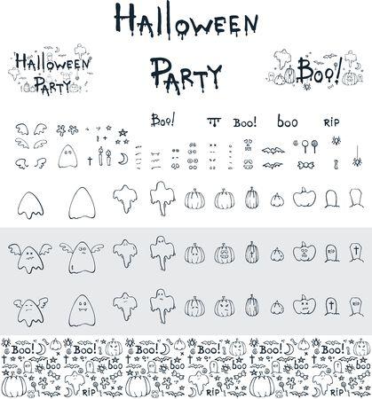 Halloween constructor, hand drawn linear cartoon objects Illustration