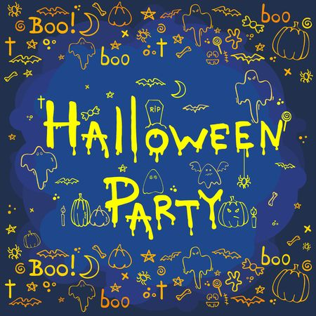 Halloween party, hand drawn cartoon background, vector illustration