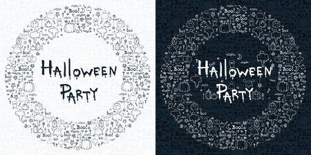 Halloween party, hand drawn cartoon seamless backgrounds set, vector illustration Illustration