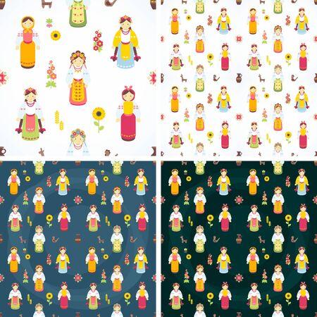 Ukrainian national costumes. Vector icons. Ukrainian characters. Seamless background Ilustracja