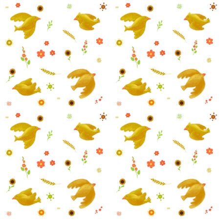 Seamless pattern with birds and wheat