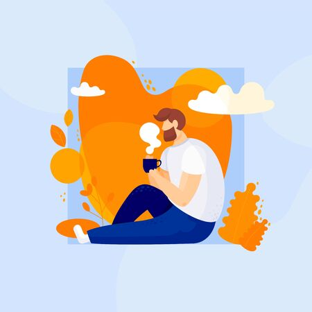 Autumn days. Colorful vector illustration in flat style.