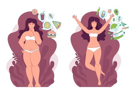 Woman before and after weigh loss. Fat and slim woman