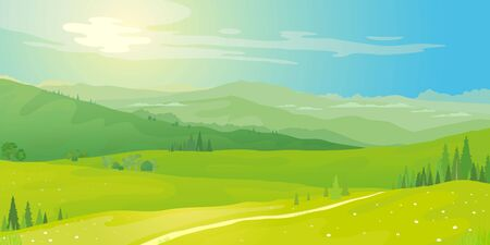 Vector landscape of mountain landscape and green fields