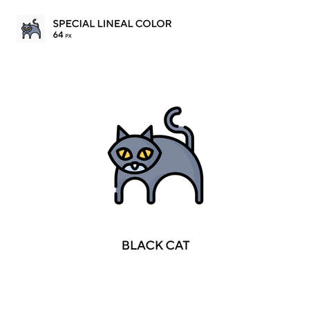 Black cat special lineal color vector icon. Black cat icons for your business project