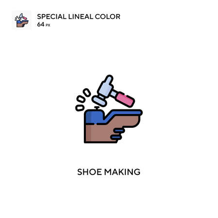 Shoe making special lineal color vector icon. Shoe making icons for your business project