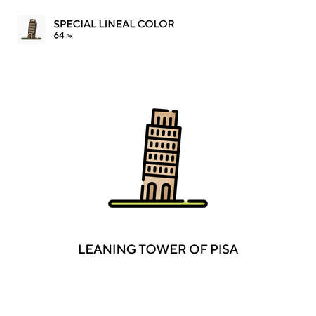 Leaning tower of pisa special lineal color vector icon. Leaning tower of pisa icons for your business project