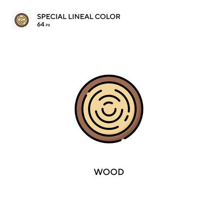Wood special lineal color vector icon. Wood icons for your business project