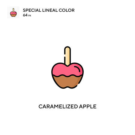Caramelized apple Special lineal color vector icon. Caramelized apple icons for your business project