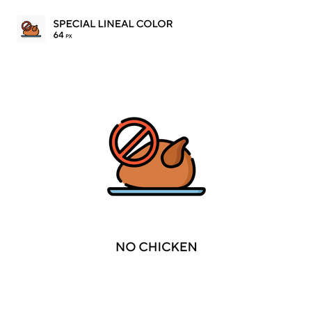 No chicken Special lineal color vector icon. No chicken icons for your business project