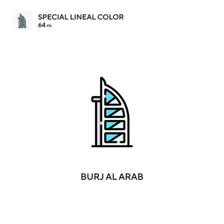 Burj al arab Special lineal color vector icon. Burj al arab icons for your business project