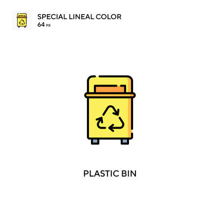 Plastic bin Special lineal color vector icon. Plastic bin icons for your business project