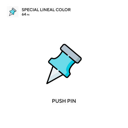 Push pin Special lineal color vector icon. Push pin icons for your business project