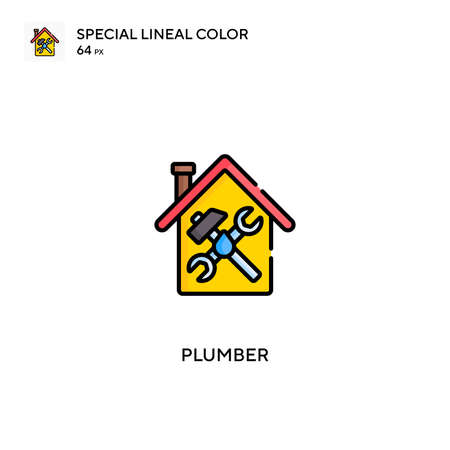 Plumber Special lineal color vector icon. Plumber icons for your business project