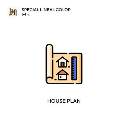 House plan Special lineal color vector icon. House plan icons for your business project Illustration