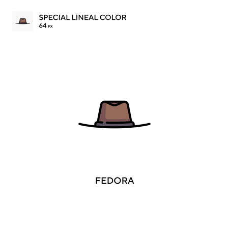 Fedora Special lineal color vector icon. Fedora icons for your business project Illusztráció