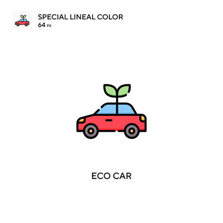 Eco car Special lineal color vector icon. Eco car icons for your business project