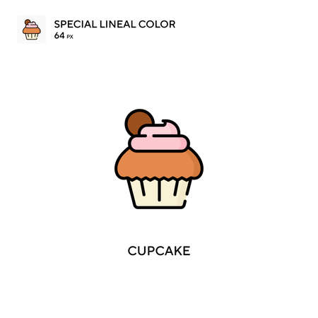 Cupcake Special lineal color icon.Cupcake icons for your business project Ilustração