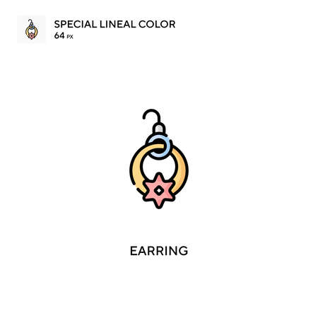 Earring Special lineal color icon.Earring icons for your business project Illustration