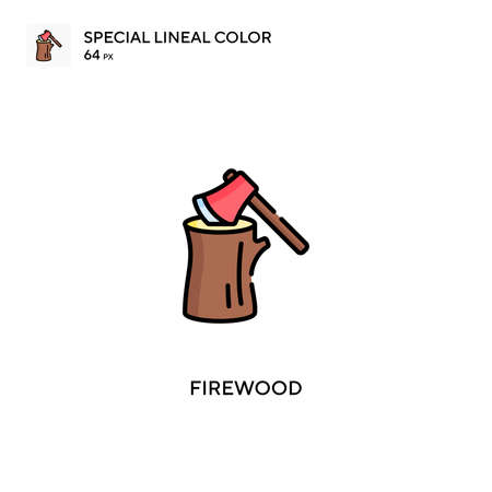 Firewood Special lineal color icon.Firewood icons for your business project Иллюстрация