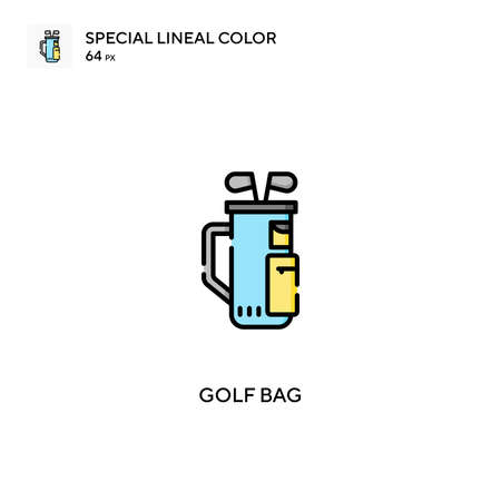 Golf bag Special lineal color icon. Golf bag icons for your business project