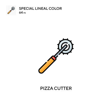 Pizza cutter Special lineal color icon. Pizza cutter icons for your business project