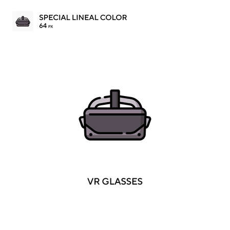 Vr glasses Special lineal color icon.Vr glasses icons for your business project Çizim