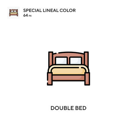 Double bed Special lineal color icon.Double bed icons for your business project Stock Illustratie