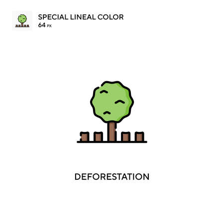 Deforestation Special lineal color icon. Deforestation icons for your business project Çizim