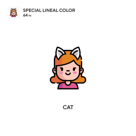 Cat Special lineal color icon.Cat icons for your business project