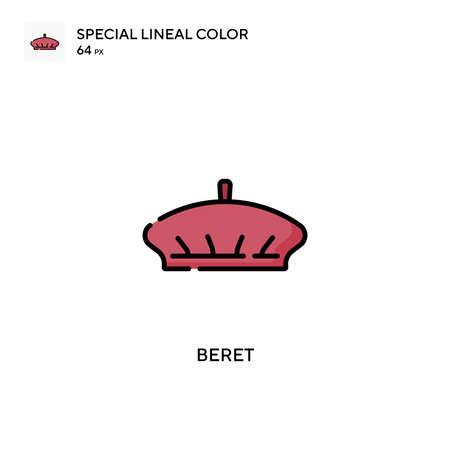 Beret special lineal color vector icon. Illustration symbol design template for web mobile UI element.