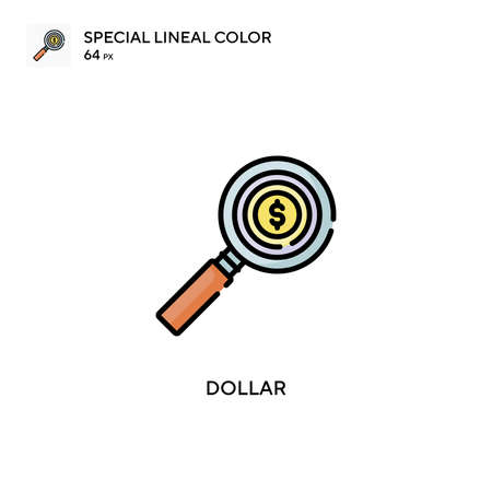 Dollar special lineal color vector icon. Illustration symbol design template for web mobile UI element. Иллюстрация