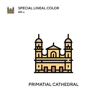 Primatial cathedral Special lineal color icon. Illustration symbol design template for web mobile UI element. Perfect color modern pictogram on editable stroke.