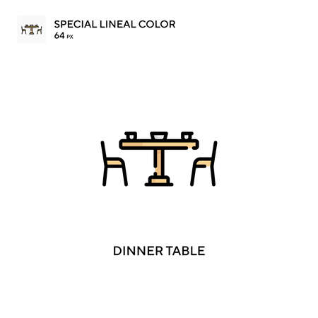 Dinner table Special lineal color icon. Illustration symbol design template for web mobile UI element. Perfect color modern pictogram on editable stroke. Иллюстрация