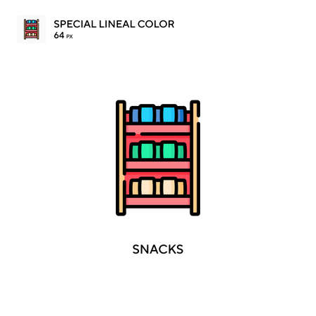 Snacks Special lineal color icon. Illustration symbol design template for web mobile UI element. Perfect color modern pictogram on editable stroke.