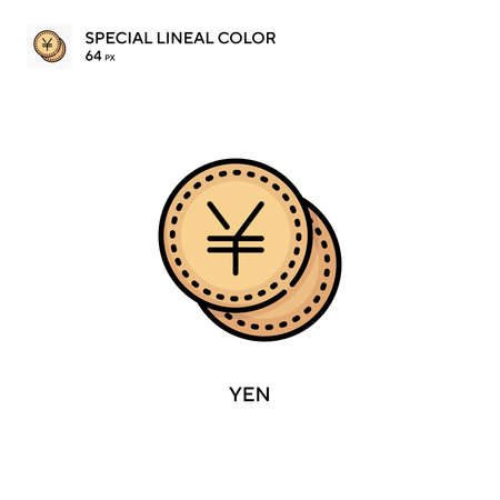 Yen Special lineal color icon. Illustration symbol design template for web mobile UI element. Perfect color modern pictogram on editable stroke. 向量圖像