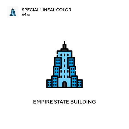 Empire state building Special lineal color icon. Illustration symbol design template for web mobile UI element. Perfect color modern pictogram on editable stroke.