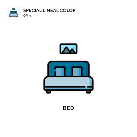 Bed Special lineal color icon. Illustration symbol design template for web mobile UI element. Perfect color modern pictogram on editable stroke. Stock Illustratie