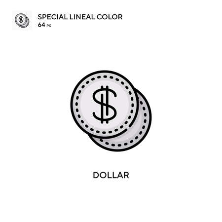 Dollar Special lineal color icon. Illustration symbol design template for web mobile UI element. Perfect color modern pictogram on editable stroke.