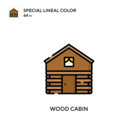 Wood cabin Special lineal color icon. Illustration symbol design template for web mobile UI element. Perfect color modern pictogram on editable stroke. Vettoriali